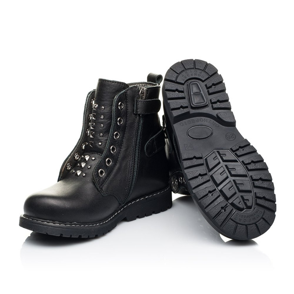Детские демисезонные ботинки Woopy Orthopedic черные для девочек натуральная кожа размер 24-34 (7117) Фото 2