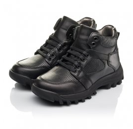 Детские демисезонные ботинки Woopy Fashion черные для мальчиков натуральная кожа размер 31-40 (7121) Фото 3