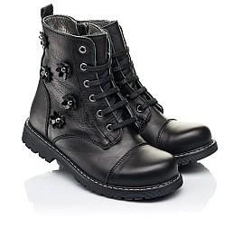 Детские демисезонные ботинки Woopy Fashion черные для девочек натуральная кожа размер 26-38 (7125) Фото 1