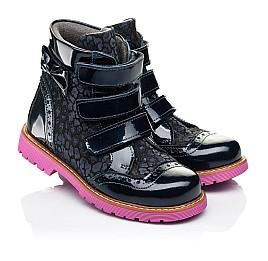 Детские демисезонные ботинки Woopy Fashion синие для девочек натуральные нубук и лаковая кожа размер 20-36 (7131) Фото 1