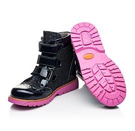 Детские демисезонные ботинки Woopy Fashion синие для девочек натуральные нубук и лаковая кожа размер 20-36 (7131) Фото 2