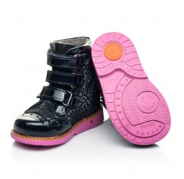 Детские демисезонные ботинки Woopy Fashion синие для девочек натуральные нубук и лаковая кожа размер 20-36 (7131) Фото 3