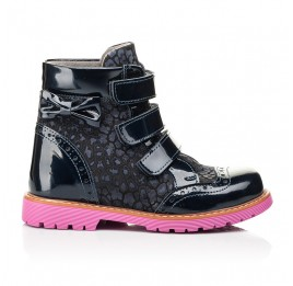 Детские демисезонные ботинки Woopy Fashion синие для девочек натуральные нубук и лаковая кожа размер 20-36 (7131) Фото 5