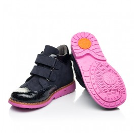 Детские демисезонные ботинки Woopy Orthopedic синие для девочек натуральные нубук и лаковая кожа размер 21-36 (7132) Фото 2