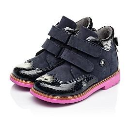 Детские демисезонные ботинки Woopy Orthopedic синие для девочек натуральные нубук и лаковая кожа размер 21-36 (7132) Фото 3