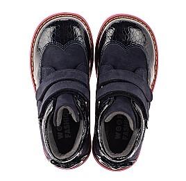Детские демисезонные ботинки Woopy Orthopedic синие для девочек натуральные нубук и лаковая кожа размер 21-36 (7132) Фото 5