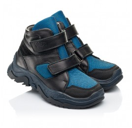 Детские демисезонные ботинки Woopy Fashion синие для мальчиков натуральная кожа, искусственный материал  размер 26-30 (7133) Фото 1