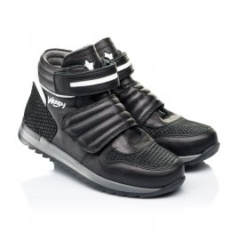 Детские демисезонные ботинки Woopy Fashion черные для мальчиков натуральная кожа размер 26-39 (7134) Фото 1