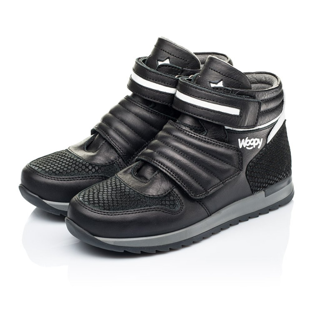 Детские демисезонные ботинки Woopy Fashion черные для мальчиков натуральная кожа размер 26-40 (7134) Фото 3