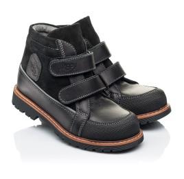 Детские демисезонные ботинки Woopy Fashion черные для мальчиков натуральная кожа и замша размер 21-39 (7135) Фото 1