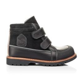 Детские демисезонные ботинки Woopy Fashion черные для мальчиков натуральная кожа и замша размер 21-39 (7135) Фото 4