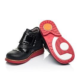Детские демисезонные ботинки Woopy Orthopedic черные для девочек натуральные нубук и лаковая кожа размер 20-30 (7137) Фото 2