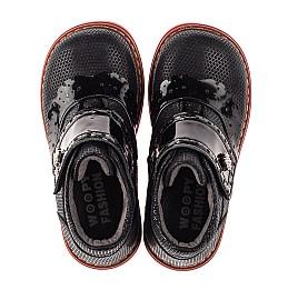 Детские демисезонные ботинки Woopy Orthopedic черные для девочек натуральные нубук и лаковая кожа размер 20-30 (7137) Фото 5