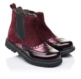 Детские демисезонные ботинки Woopy Fashion бордовые для девочек натуральная кожа и замша размер 27-36 (7138) Фото 1
