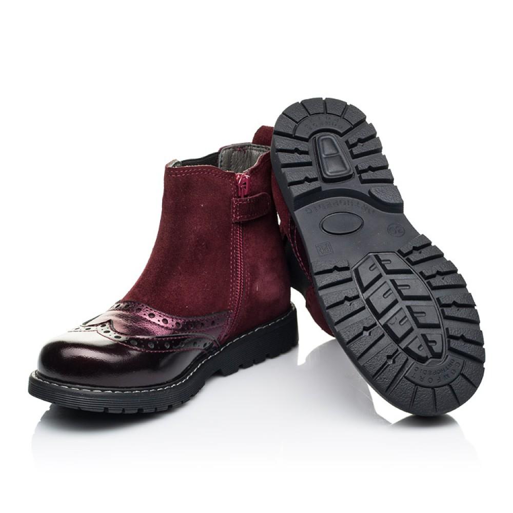 Детские демисезонные ботинки Woopy Fashion бордовые для девочек натуральная кожа и замша размер 27-36 (7138) Фото 2