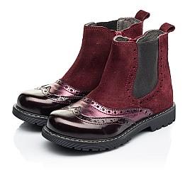 Детские демисезонные ботинки Woopy Fashion бордовые для девочек натуральная кожа и замша размер 27-36 (7138) Фото 3