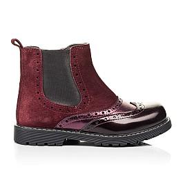 Детские демисезонные ботинки Woopy Fashion бордовые для девочек натуральная кожа и замша размер 27-36 (7138) Фото 4