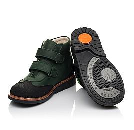 Детские демисезонные ботинки Woopy Orthopedic зеленые для мальчиков натуральный нубук OIL размер 23-36 (7139) Фото 2