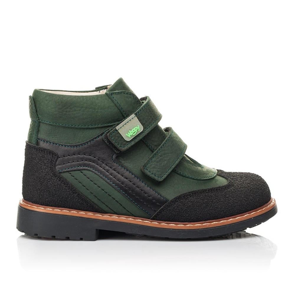 Детские демисезонные ботинки Woopy Orthopedic зеленые для мальчиков натуральный нубук OIL размер 20-36 (7139) Фото 4