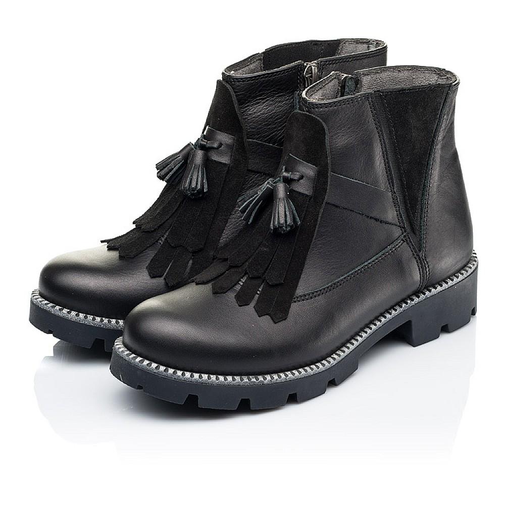 Детские демисезонные ботинки Woopy Fashion черные для девочек натуральная кожа размер 31-39 (7142) Фото 3