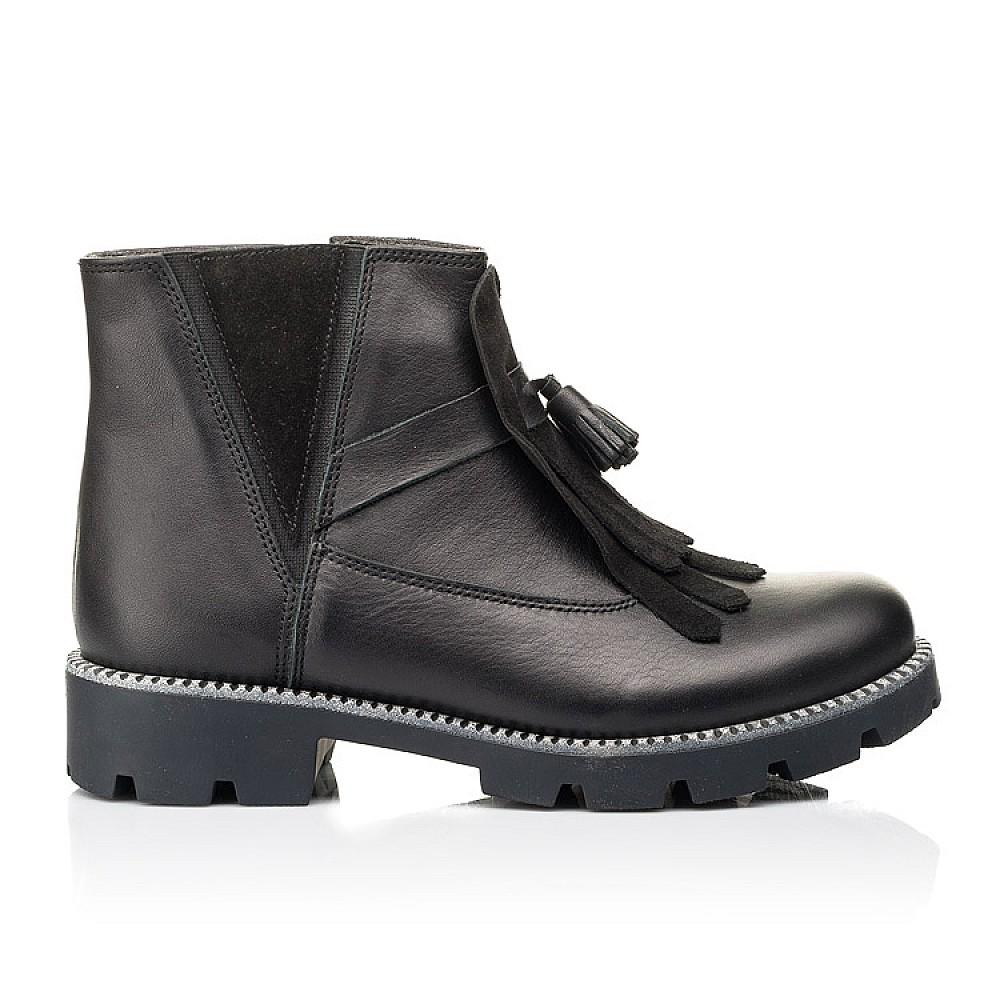 Детские демисезонные ботинки Woopy Fashion черные для девочек натуральная кожа размер 31-39 (7142) Фото 4