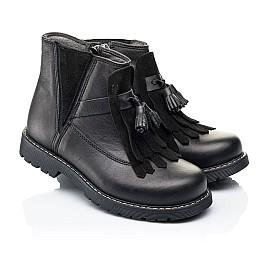 Детские демисезонные ботинки Woopy Orthopedic черные для девочек натуральная кожа размер 26-31 (7143) Фото 1