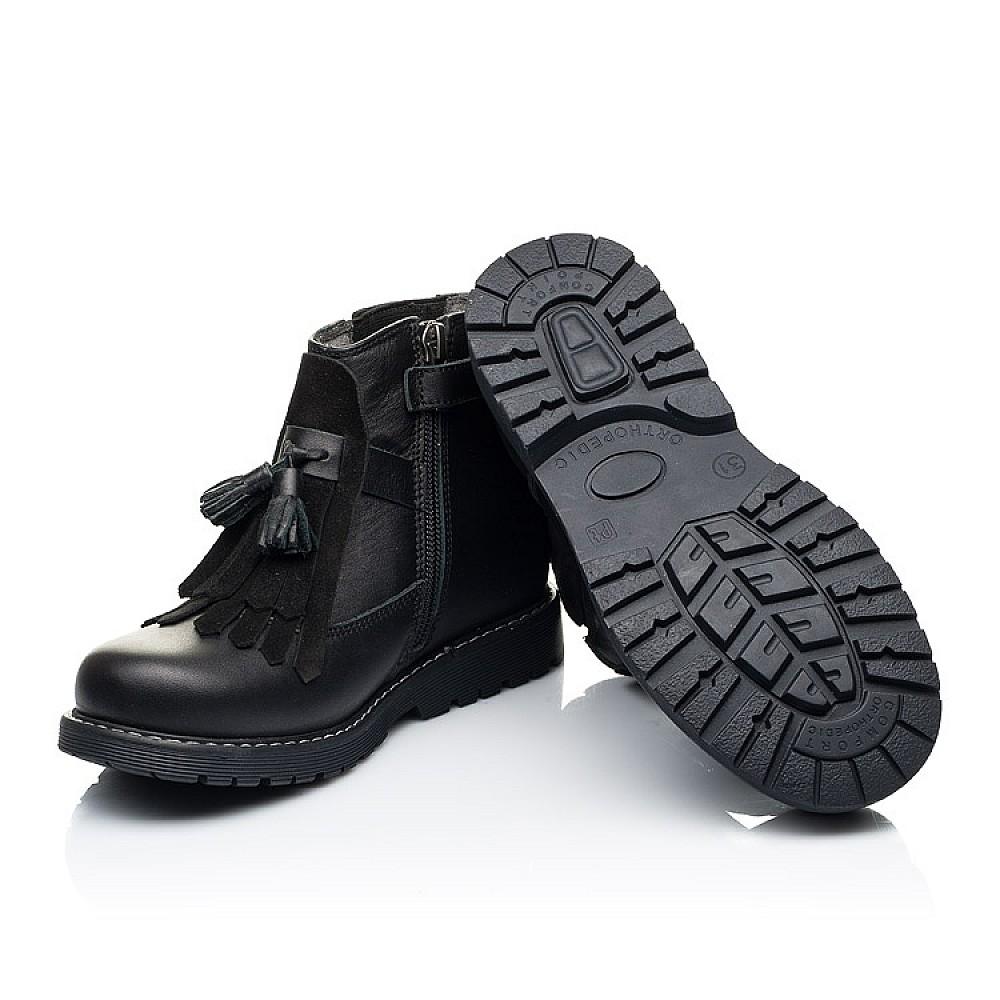 Детские демисезонные ботинки Woopy Orthopedic черные для девочек натуральная кожа размер 26-36 (7143) Фото 2