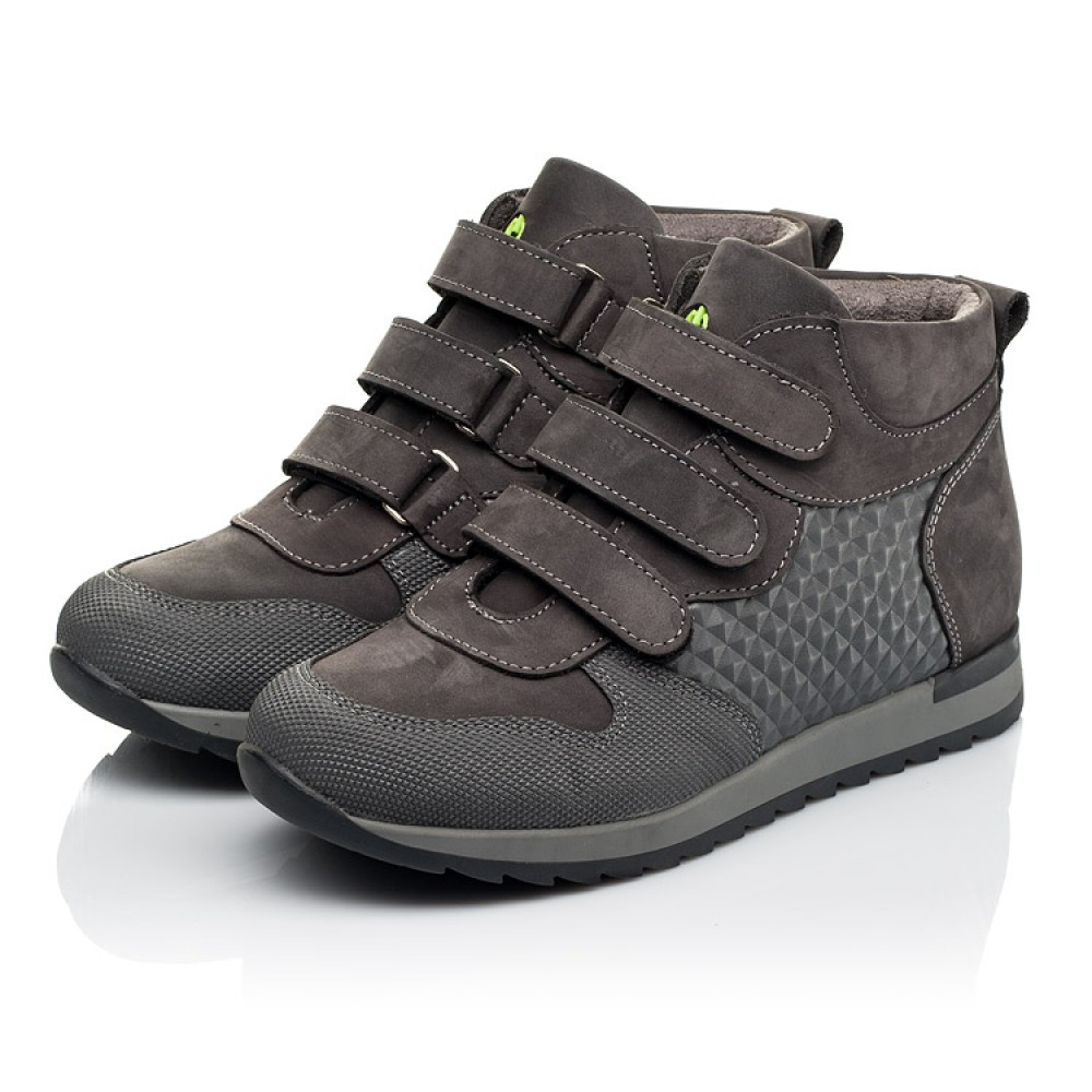 Детские демисезонные ботинки Woopy Fashion серые для девочек натуральный нубук размер 21-40 (7144) Фото 3