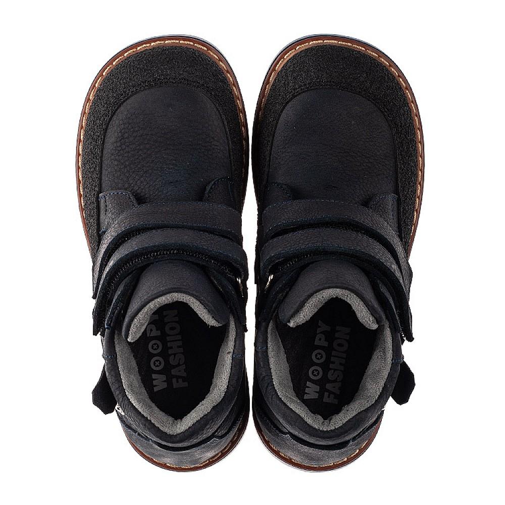 Детские демисезонные ботинки Woopy Orthopedic темно-синие для мальчиков натуральный нубук размер 22-36 (7146) Фото 5