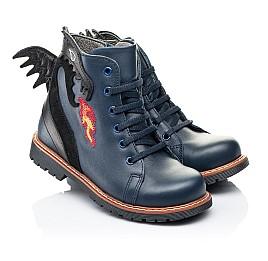 Детские демисезонные ботинки Woopy Orthopedic синие для мальчиков натуральная кожа размер 22-33 (7147) Фото 1