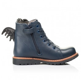 Детские демисезонные ботинки Woopy Orthopedic синие для мальчиков натуральная кожа размер 22-33 (7147) Фото 5