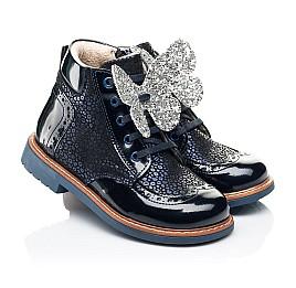 Детские демисезонные ботинки Woopy Orthopedic темно-синие для девочек натуральный нубук, лаковая кожа размер 18-36 (7148) Фото 1