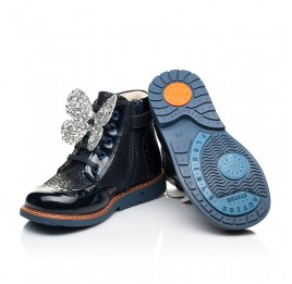 Детские демисезонные ботинки Woopy Orthopedic темно-синие для девочек натуральный нубук, лаковая кожа размер 18-36 (7148) Фото 2
