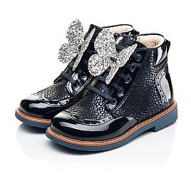 Детские демисезонные ботинки Woopy Orthopedic темно-синие для девочек натуральный нубук, лаковая кожа размер 18-36 (7148) Фото 3