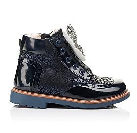 Детские демисезонные ботинки Woopy Orthopedic темно-синие для девочек натуральный нубук, лаковая кожа размер 18-36 (7148) Фото 4