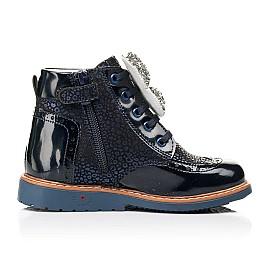 Детские демисезонные ботинки Woopy Orthopedic темно-синие для девочек натуральный нубук, лаковая кожа размер 18-36 (7148) Фото 5