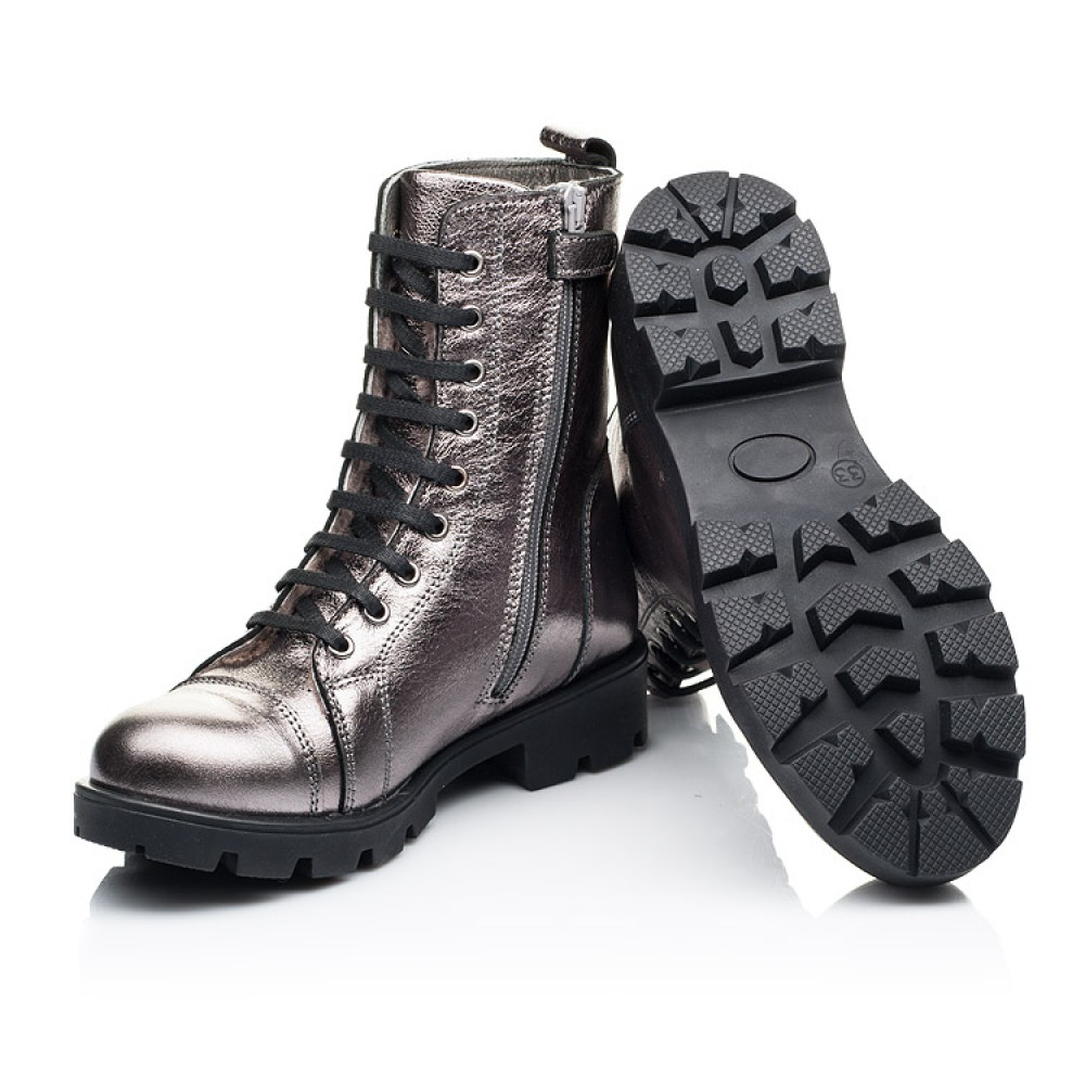 Детские зимние ботинки на меху Woopy Fashion серебряные для девочек натуральная кожа размер 28-38 (7151) Фото 2
