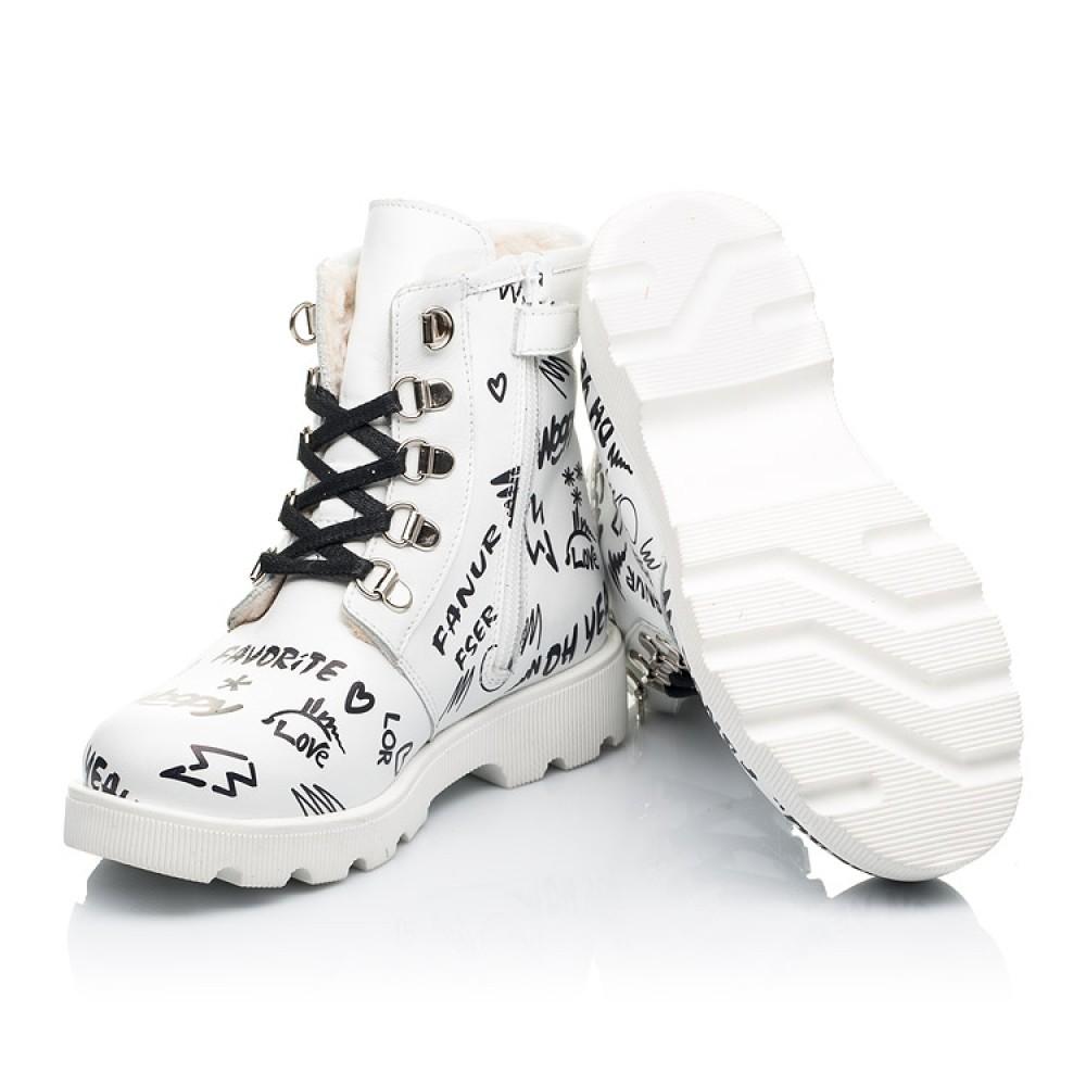 Детские зимние ботинки на шерсти Woopy Fashion белые для девочек натуральная кожа размер 26-37 (7153) Фото 2