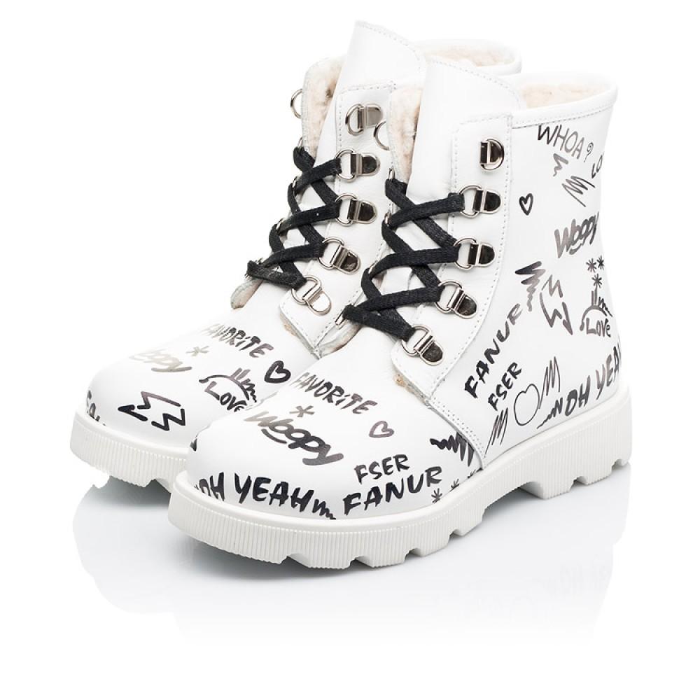 Детские зимние ботинки на шерсти Woopy Fashion белые для девочек натуральная кожа размер 26-37 (7153) Фото 3