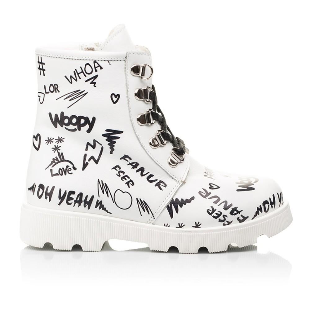 Детские зимние ботинки на шерсти Woopy Fashion белые для девочек натуральная кожа размер 26-37 (7153) Фото 4