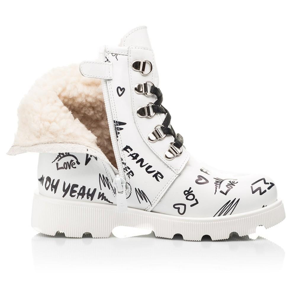 Детские зимние ботинки на шерсти Woopy Fashion белые для девочек натуральная кожа размер 26-37 (7153) Фото 5