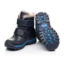 Детские зимние ботинки на меху Woopy Fashion синие для мальчиков натуральная кожа и нубук размер 22-29 (7154) Фото 2