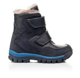Детские зимние ботинки на меху Woopy Fashion синие для мальчиков натуральная кожа и нубук размер 22-29 (7154) Фото 4