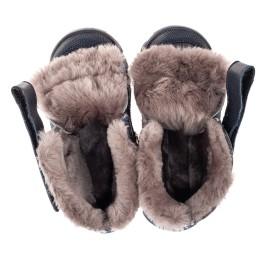 Детские зимние ботинки на меху Woopy Fashion синие для мальчиков натуральная кожа и нубук размер 22-29 (7154) Фото 5