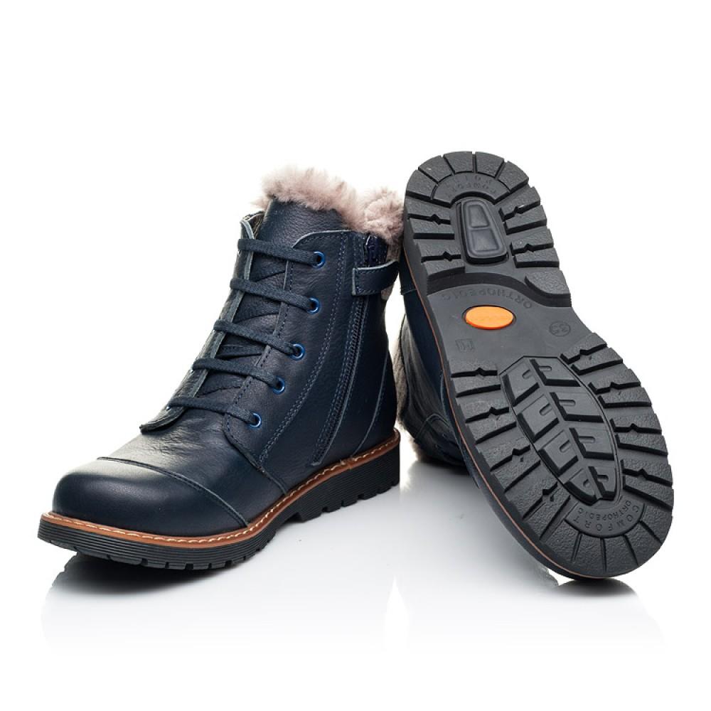 Детские зимние ботинки на меху Woopy Orthopedic синие для мальчиков натуральная кожа размер 32-40 (7156) Фото 2