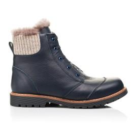 Детские зимние ботинки на меху Woopy Orthopedic синие для мальчиков натуральная кожа размер - (7156) Фото 4