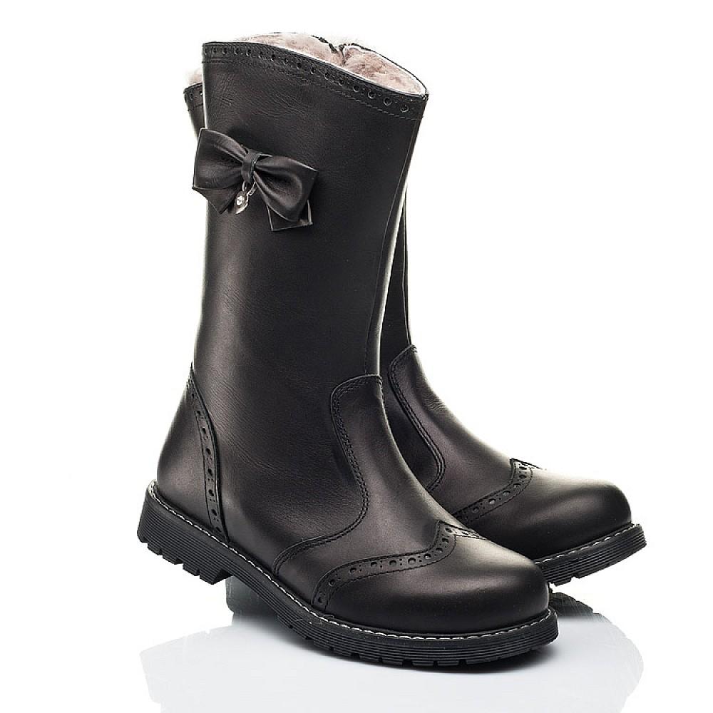 Детские зимние сапоги на меху Woopy Orthopedic черные для девочек натуральная кожа размер 29-39 (7157) Фото 1