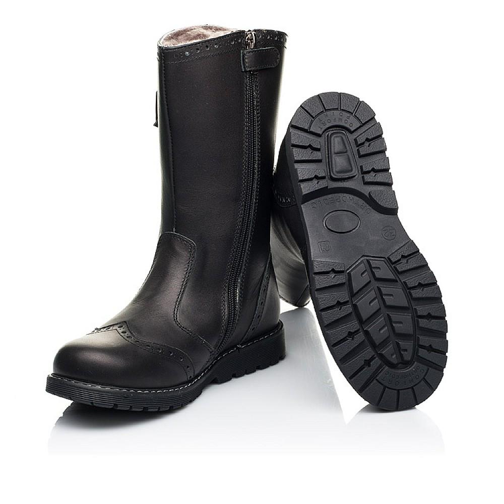 Детские зимние сапоги на меху Woopy Orthopedic черные для девочек натуральная кожа размер 29-39 (7157) Фото 2