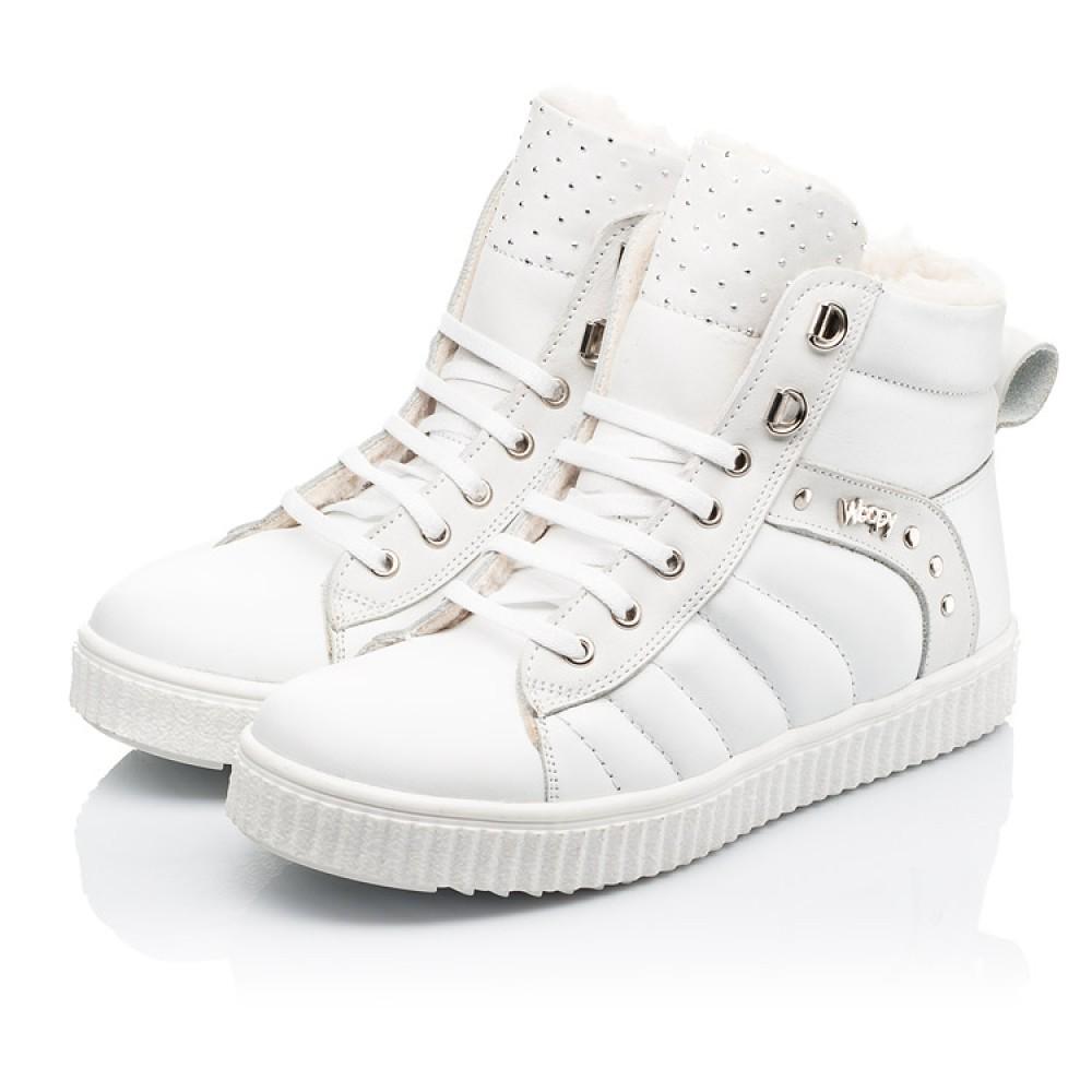 Детские зимние ботинки на шерсти Woopy Fashion белые для девочек натуральная кожа размер 31-39 (7159) Фото 3