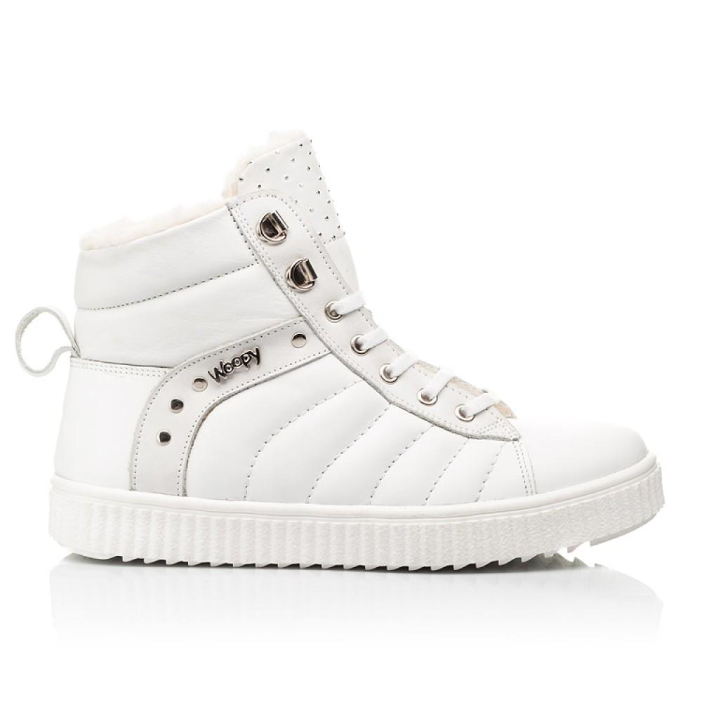 Детские зимние ботинки на шерсти Woopy Fashion белые для девочек натуральная кожа размер 31-39 (7159) Фото 4
